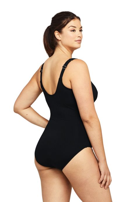 Women's Plus Size Tummy Control V-Neck One Piece Swimsuit Adjustable Straps Black