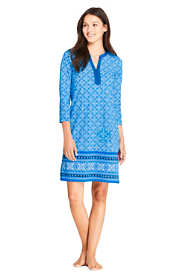 Women's Petite V-Neck 3/4 Sleeve UV Protection Swim Cover-up Dress Print