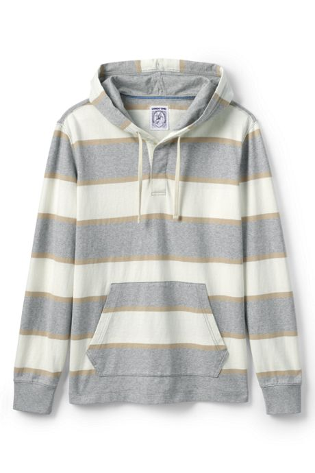 Men's Long Sleeve Stripe Rugby Hoodie