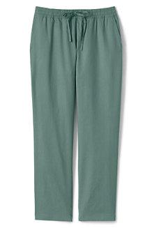 Pantalon en Lin Mélangé Stretch Taille Mi-Haute Elastiquée, Femme