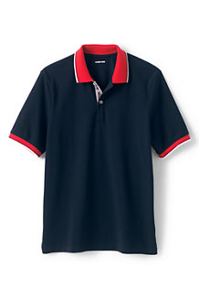 Men's Stretch Piqué Polo Shirt, Contrast Collar