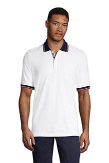 Men's Stretch Piqué Polo Shirt, Contrast Collar