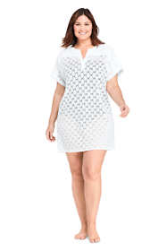Women's Plus Size V-Neck Short Sleeve Swim Cover-up Dress Eyelet