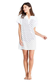 Women's V-Neck Short Sleeve Swim Cover-up Dress Eyelet
