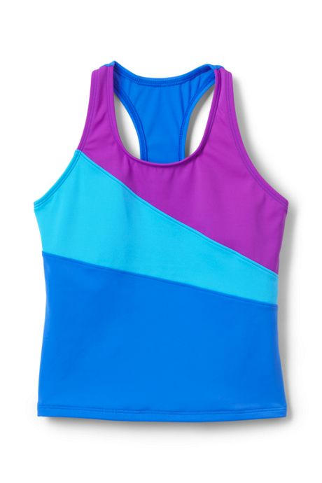 Girls Slim Colorblock Tankini Top