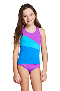 Little Girls Colorblock Tankini Top, Front