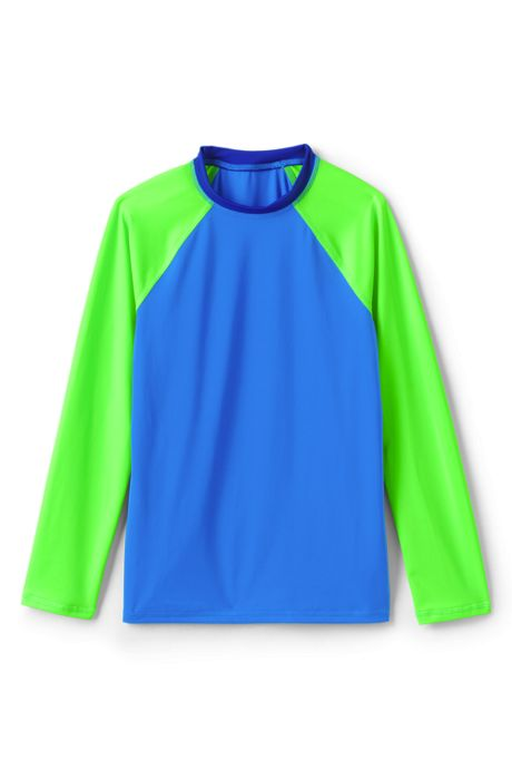 Boys Husky Long Sleeve Colorblock Crewneck Rash Guard