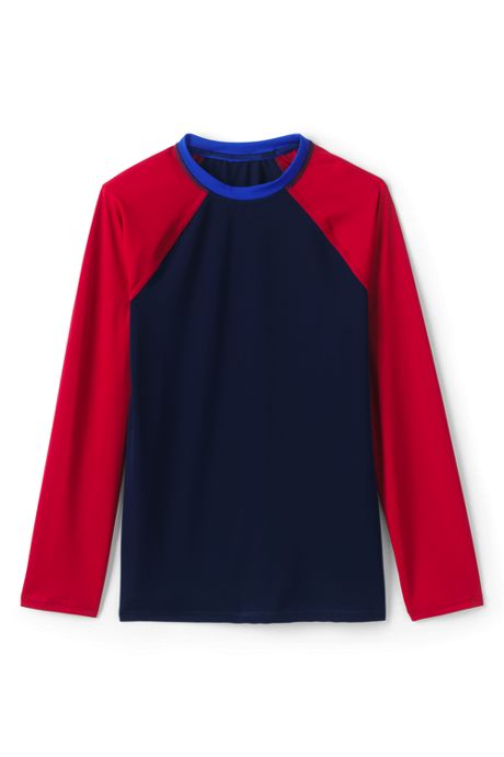 Boys Long Sleeve Colorblock Crewneck Rash Guard