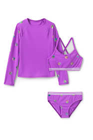 Big Girls 3 Piece UPF 50 Sun Protection Rash Guard Set