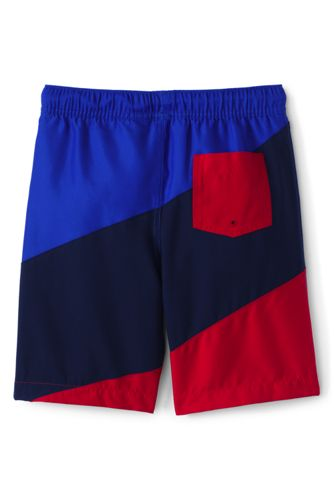 Boys Slim Diagonal Swim Trunks