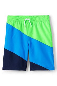 Badeshorts mit Colorblock-Streifen für Jungen