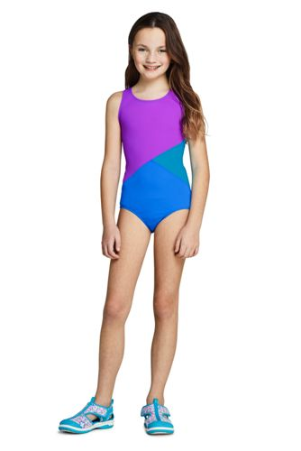 Girls Slim Colorblock One Piece Suit