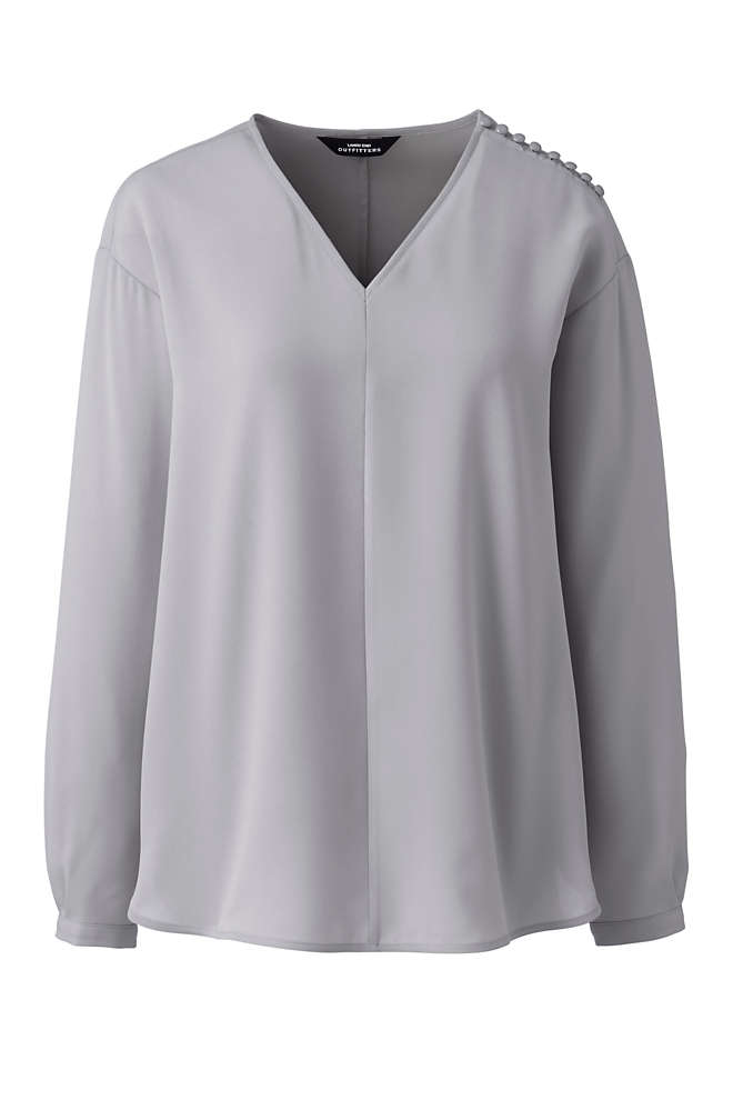 Women's Long Sleeve V-neck Button Shoulder Crepe Blouse, Front