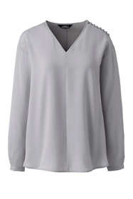 Women's Petite Long Sleeve V-neck Button Shoulder Crepe Blouse