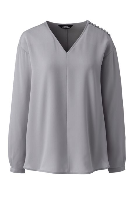 Women's Long Sleeve V-neck Button Shoulder Crepe Blouse