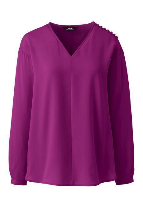 Women's Plus Size Long Sleeve V-neck Button Shoulder Crepe Blouse