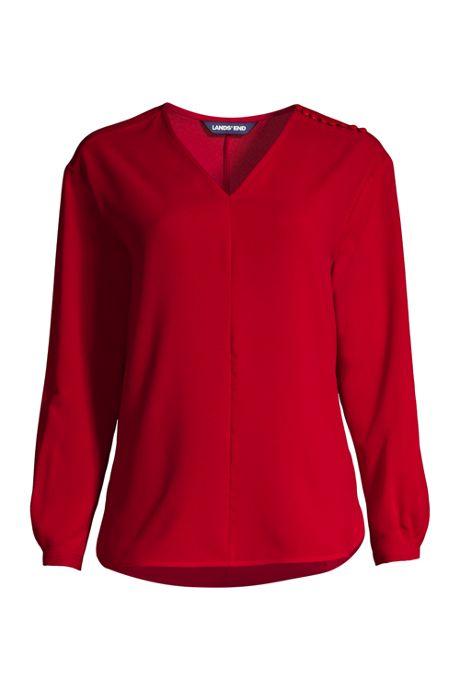 Women's Long Sleeve V-neck Button Shoulder Crepe Blouse