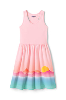 Girls' Racer-back Cotton Jersey Dress, Border Print