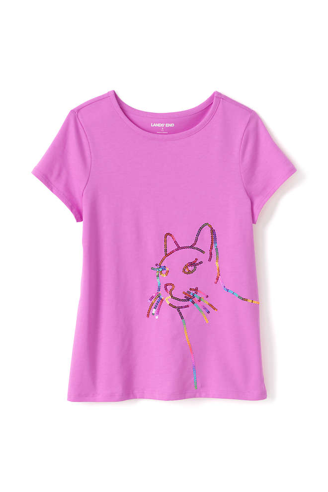 Little Girls Graphic Embellished T Shirt, Front