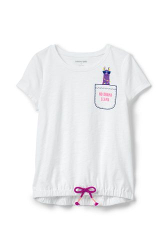 Girls' Cinched Hem Graphic Cotton Top