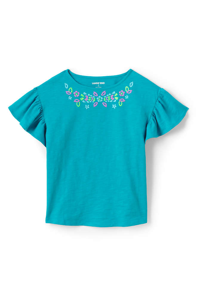 Girls Novelty Ruffle Sleeve Top, Front