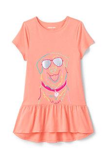 Grafik-Longshirt mit Rüschensaum für Mädchen