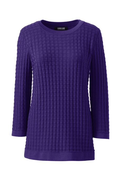 Women's Plus Size Cotton Modal Textured Sweater
