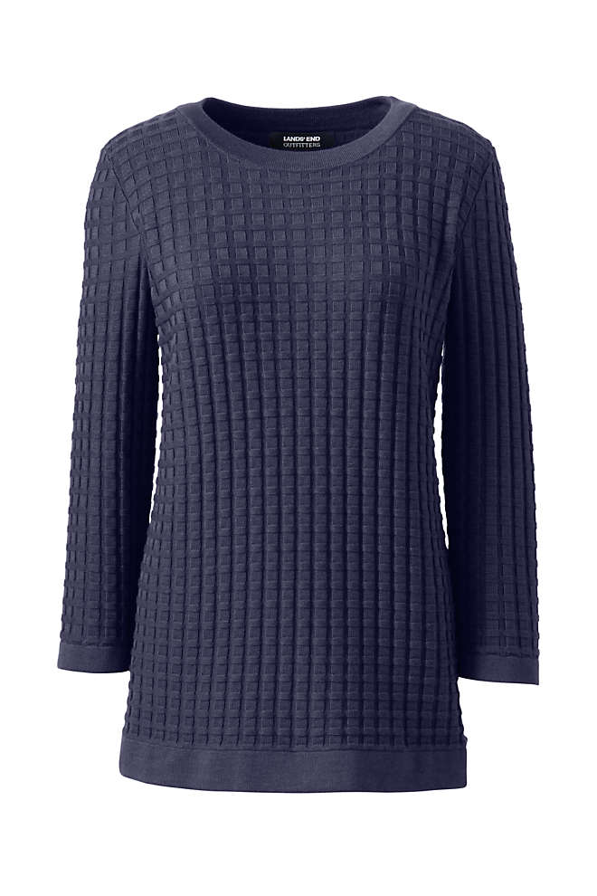 Women's Plus Size Cotton Modal Textured Sweater, Front