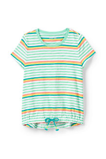 Girls' Cinched Hem Patterned Cotton Top