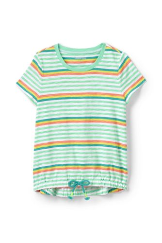 Little Girls' Cinched Hem Patterned Cotton Top