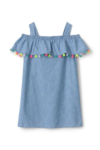 Girls Chambray Cold Shoulder Dress