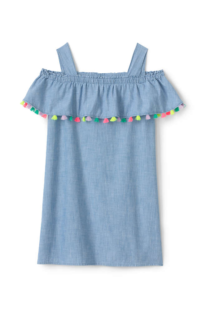 Girls Plus Chambray Cold Shoulder Dress, Front