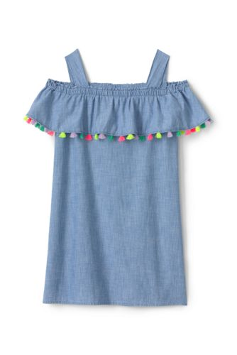 Girls' Cold Shoulder Tassel Frill Chambray Dress