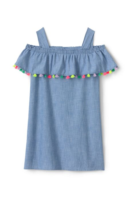Little Girls Chambray Cold Shoulder Dress