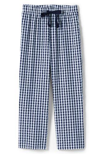 Pantacourt de Pyjama en Coton Seersucker, Femme Stature Standard