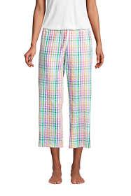 Women's Petite Crop Seersucker Cotton Pajama Pants