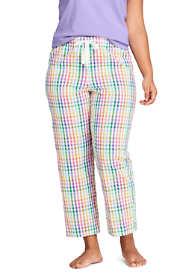 Women's Plus Size Seersucker Cotton Pajama Pants