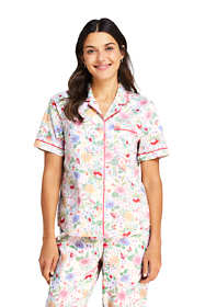 Women's Print Short Sleeve Cotton Pajama Shirt