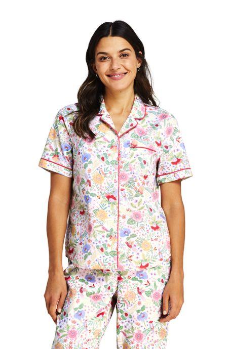 Women's Print Short Sleeve Cotton Pajama Shirt
