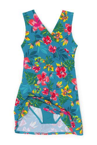 Women's Tummy Control Surplice Wrap Swim Dress One Piece Swimsuit Print