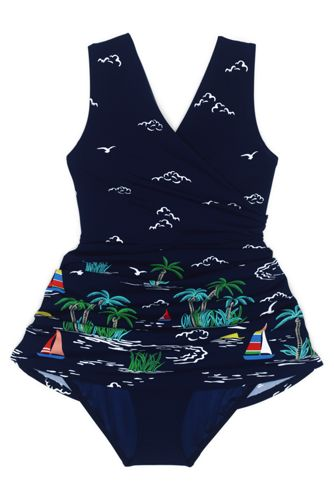 Women's D-Cup Tummy Control Surplice Wrap Swim Dress One Piece Swimsuit Print