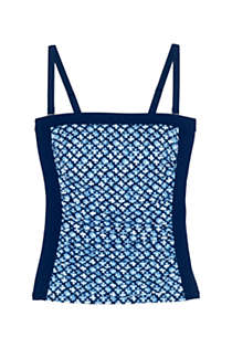 Women's Long Strapless Bandeau Tankini Top Swimsuit with Removable and Adjustable Straps Print, Front