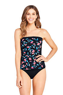 Women's D-Cup Strapless Bandeau Tankini Top Swimsuit with Removable and Adjustable Straps Print, Unknown