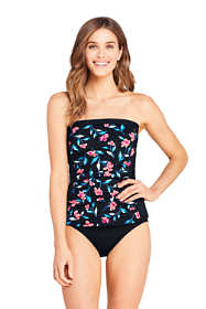 Women's D-Cup Strapless Bandeau Tankini Top Swimsuit with Removable and Adjustable Straps Print