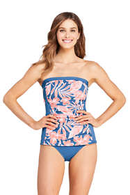 Women's Strapless Bandeau Tankini Top Swimsuit with Removable and Adjustable Straps Print