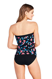 Women's Long Strapless Bandeau Tankini Top Swimsuit with Removable and Adjustable Straps Print, alternative image