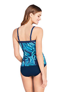 Women's Strapless Bandeau Tankini Top Swimsuit with Removable and Adjustable Straps Print, Back