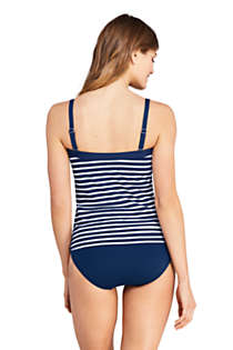 Women's Long Strapless Bandeau Tankini Top Swimsuit with Removable and Adjustable Straps Print, Back