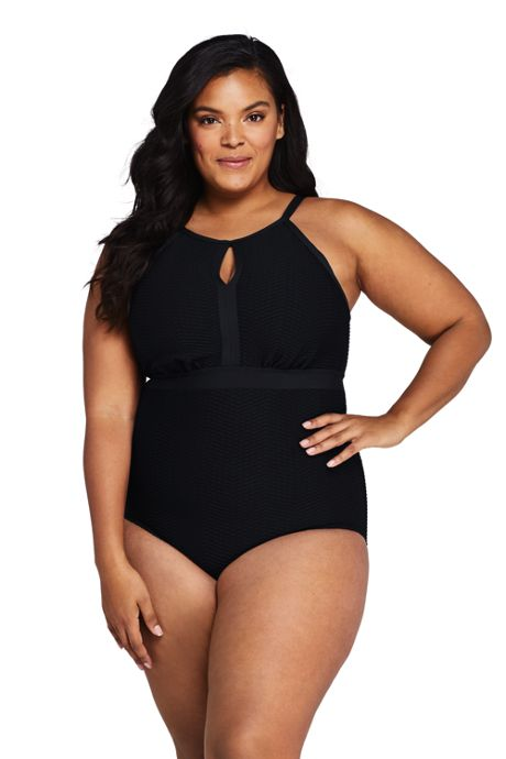 Women's Plus Size Texture Tummy Control Keyhole High Neck One Piece Swimsuit Adjustable Straps
