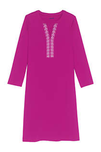 Women's V-neck 3/4 Sleeve UV Protection Swim Cover-up Dress Embroidered, Front